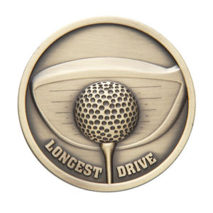 70mm Longest Drive or Nearest the Pin Golf Medallion,Antique Gold (TR)