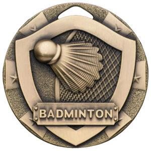 Badminton Medal with Ribbon, Bronze, 50mm Diameter (G822) gdt