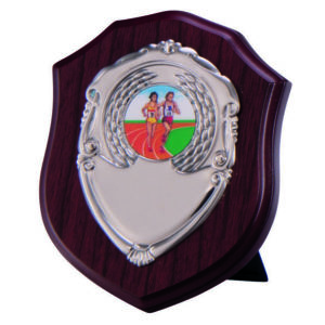 "175mm (7"") Mahogany Shield with metal Front, Trophy, FREE Engraving (PS4565D) TR"