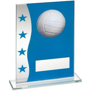 Blue & Silver Glass Gaelic Football Trophy Award 203mm Free Engraving (TD647L)td