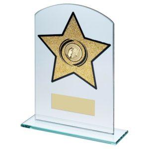 Gold Glitter Star Glass Dominoes Trophy 165mm Free Engraving (TD949GA) td