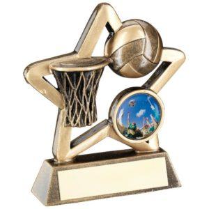 Mini Star Netball Trophy Award 95mm Antique Gold FREE Engraving (RF442A) td