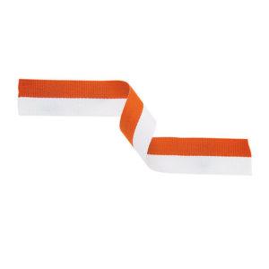 10 x Orange/White Sports Medal Ribbon,22mm Wide,395mm Long (MR40)