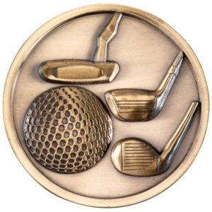 70mm Diameter Golf Medallion, Medal, Antique Gold, Antique Silver (td)