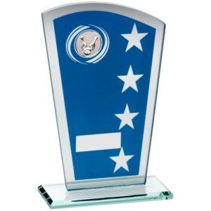 Blue & Silver Glass Ten Pin Bowling Trophy 184mm Free Engraving (TD249M)td