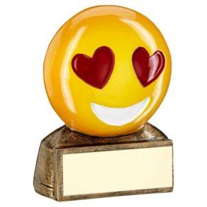 Emoji Heart Eyes Trophy Award Fun, Love 70mm Free Engraving (RF952) td