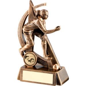 Female Lawn Bowls Trophy, Award, Antique Gold, 165mm, FREE Engraving (RF293B) td