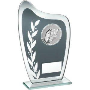 Grey & Silver Glass Dominoes Trophy Award 203mm FREE Engraving (TD929L) td