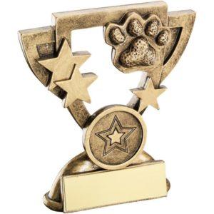 Star Cup Dog Trophy Award Paws 95mm FREE Engraving (RF809) td