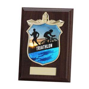 Triathlon Titan Wooden Plaque, Trophy, 125mm, FREE Engraving (PL15141B)