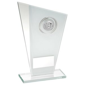 White & Silver Glass Quiz Trophy 165mm, FREE Engraving (TD749S) TD