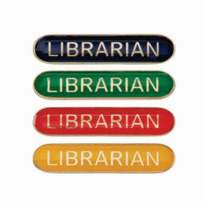Librarian Enamelled Bar School Badge, Red, Blue, Green, Yellow (SB16116)