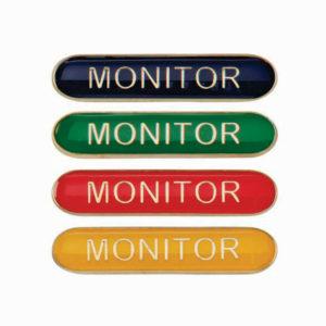 Monitor Enamelled Bar School Badge, Red, Blue, Green, Yellow (SB16118)