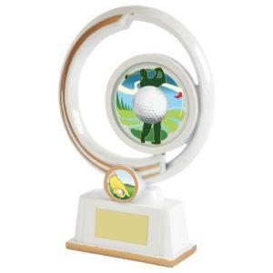 220mm Golf Trophy,Award,White & Gold,Free Engraving (641ZAP)twt