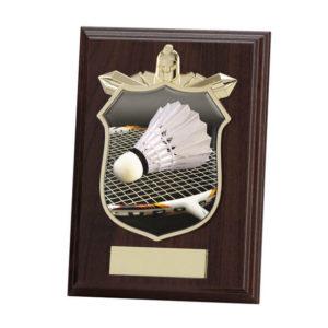 Badminton Wooden Plaque Shield Trophy Award 125mm, Free Engraving (PL15093B)trd