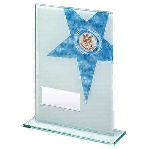 Blue Star Glass Academic Award Trophy School 184mm Free Engraving (TD259GB) td