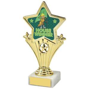 Fun Four Gold Star House Winner Green Trophy 170mm, Free Engraving (1112 J)TWT