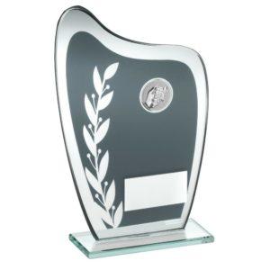 Grey & Silver Glass Dominoes Trophy Award 184mm FREE Engraving (TD929M) td