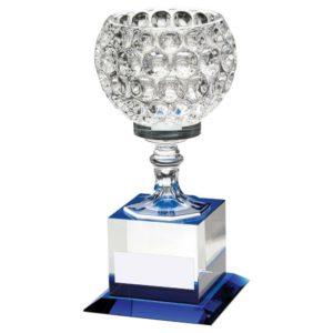 Superb Blue & Clear Glass Trophy Award Heavyweight 197mm Free Engraving(JB50A)td