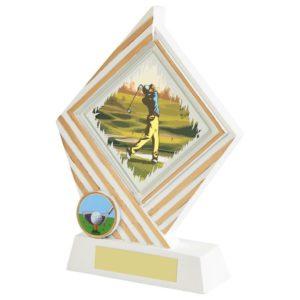 170mm White & Gold Diamond Golf Trophy, Award, Free Engraving (638ZBP)twt