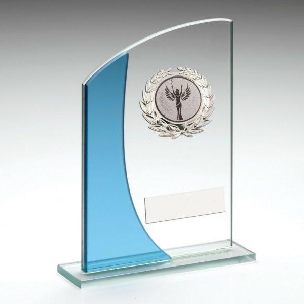 Blue & Clear Glass Trophy Award Multisport 152mm Free Engraving (TY110B) td