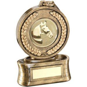 Gold Medal Horse Equestrian Trophy Award 146mm FREE Engraving (RF13B) td