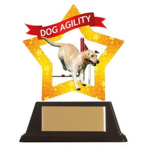 Mini Star Dog Agility Trophy, Acrylic 100mm Free Engraving (AC19652A)trd