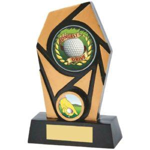 Spiral Longest Drive Golf Trophy Award Black & Gold 150mm  (855ZAP) twt
