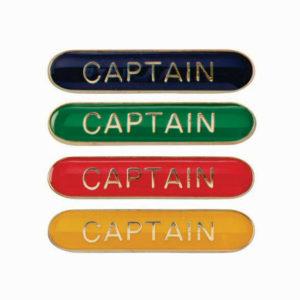 Captain Enamelled Bar School Badge 4 colours, Red, Blue, Green, Yellow (SB16100)