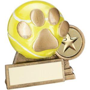 Dog Paw & Ball Trophy Award Paws 76mm FREE Engraving (RF560) td