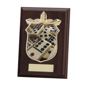 Dominoes Wooden Shield Trophy Award 175mm, FREE Engraving (PL15100D)trd