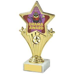 Fun Four Gold Star Drama Award Trophy 170mm, Free Engraving (1112 E)TWT