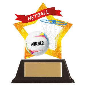 Mini Star Netball Trophy, Acrylic 100mm Free Engraving (AC19680A)trd