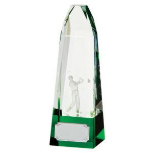 Pinnacle 3D Crystal Golf  Trophy/Award,185mm Free Engraving (CR17123A)trd