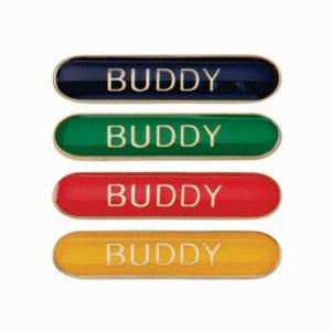 Buddy Enamelled Bar School Badge 4 colours, Red, Blue, Green, Yellow (SB16113)