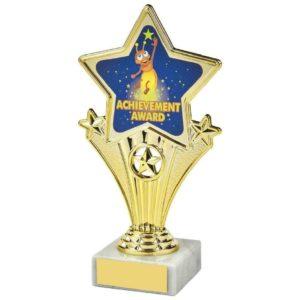 Fun Four Gold Star Achievement Award Trophy 170mm, Free Engraving (1112 A)TWT