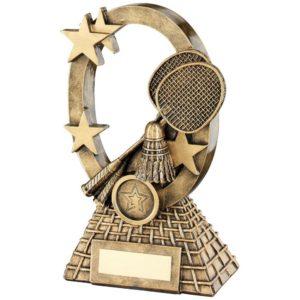 twt T7011 Female Badminton Trophy,Antique Gold,Marble Base,225mm,FREE Engraving