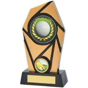 Spiral Golf Trophy Award Black & Gold 200mm Free Engraving (856ZAP) twt