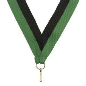 10 x Green/Black Sports Medal Ribbon,22mm Wide,395mm Long
