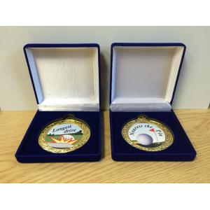 70mm Longest Drive, Nearest the Pin Golf Medal in Blue Case, free engraving