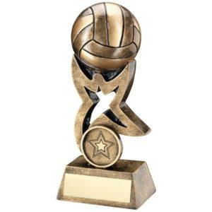 Antique Gold Netball Trophy Award 178mm, FREE Engraving (RF262C) td