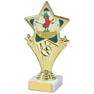 Fun Four Gold Star Attendance  Award Trophy 170mm, Free Engraving (1112 C)TWT