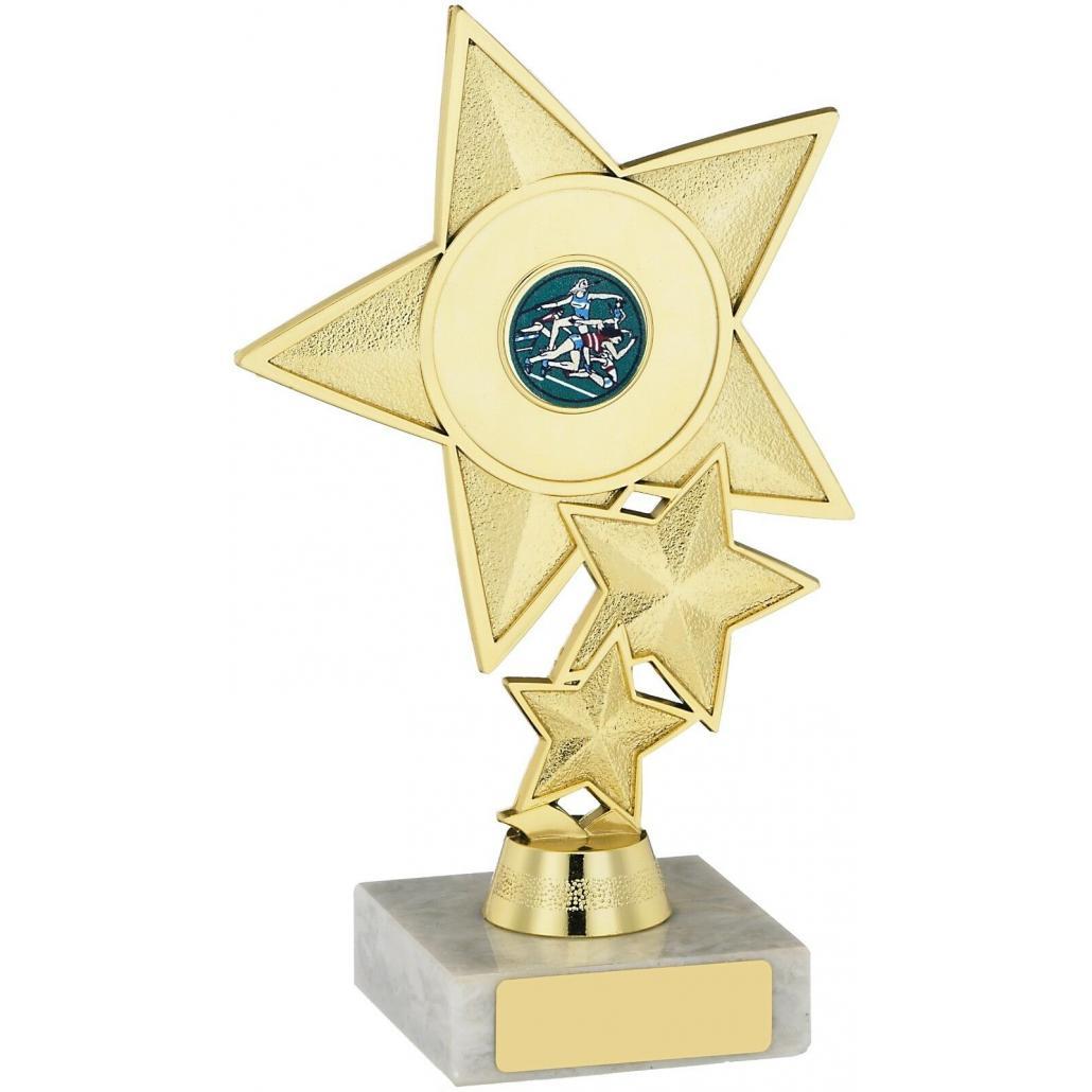 Gold Coloured, Tri Star Trophy, Award,180mm, FREE Engraving (A0921B) good