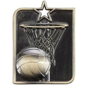 Netball Medal, 53mm x 40mm with FREE Ribbon,Centurion Star Medal (MM15013) trd
