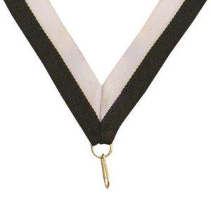 10 x Black/White Sports Medal Ribbon,22mm Wide,395mm Long