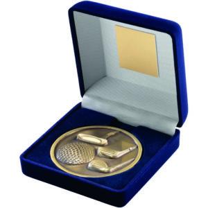 70mm Diameter Golf Medallion in Blue Case Antique Gold, Antique Silver (td)