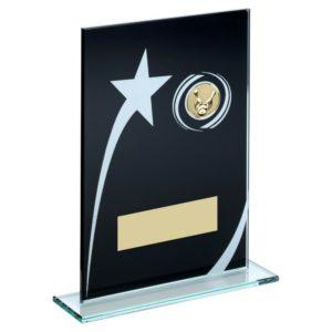 Black Glass Ten Pin Bowling Trophy 184mm Free Engraving (TD849GB)td