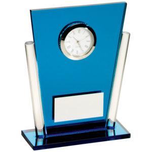 Blue Glass Clock, 133mm, FREE Engraving (Clock2)td