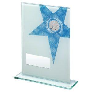 Blue Star Glass Tennis Award Trophy 165mm Free Engraving (TD259GA) td