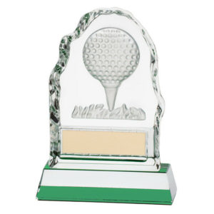 Challenger Glass Golf Ball Trophy, Award,130mm Free Engraving (CR4035B)trd